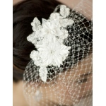 Mariell French Net Vintage Bridal Veil with Ivory Beaded & Floral Lace Applique