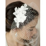 Mariell French Net Vintage Bridal Veil with White Beaded & Floral Lace Applique