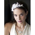 Mariell Luxurious White Lace Applique Wedding Ribbon Headband with Georgette Flowers