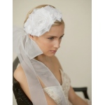 Mariell Handmade White Silk Flower Bridal Headband with Wide Sheer Ribbon