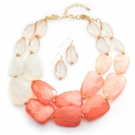 Mariell Coral Pastels Chunky Statement Necklace & Earrings for Prom Or Bridesmaids