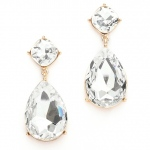 Mariell Chunky Crystal Dangle Wedding Or Prom Earrings Set in Gold