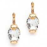 Mariell Clear Crystal Oval Drop Bling Earrings in Gold