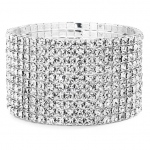 Mariell 10-Row Clear Rhinestone Wedding Or Prom Stretch Bracelet
