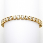 Mariell Glamorous 14K Gold Plated Bridal Or Prom Tennis Bracelet in Petite Size