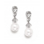 Mariell Classic Pearl & Crystal Drop Bridal or Bridesmaids Earrings