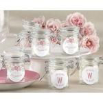 Personalized Glass Favor Jars, Kate's Rustic Bridal Shower Collection: Set of 12