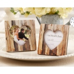 Rustic Romance Faux-Wood Heart Place Card Holder, Photo Frame