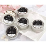 Personalized Silver Round Candy Tins, Mr. & Mrs.: Set of 12
