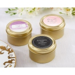 Personalized Gold Round Candy Tins, Wedding: Set of 12