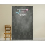 Kate's, He or She?, Gender Reveal Personalized Photo Booth Backdrop-Chalk