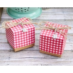 Red Gingham Favor Box with Spatula Charm: Set of 24