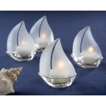 Set Sail, Frosted Glass Sailboat Tealight Holders: Set of 4