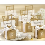 Miniature Gold Chair Favor Box with Heart Charm and Ribbon: Set of 12, Can be Monogrammed