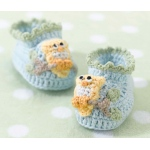 Lillian Rose Blue Owl Booties 0-6 Months