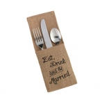 Lillian Rose Set of 4 Eat, Drink and Be Married Burlap Silverware Holders