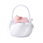 Lillian Rose Satin Flower Basket - Shiny White