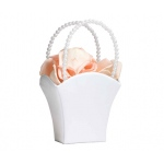 Lillian Rose Plain Satin Flower Basket - White