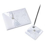 Lillian Rose White Lace Guest book & Pen Set