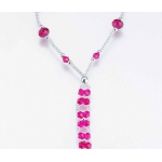 Lillian Rose Set of 2 Bead Foot Jewelry - Hot pink