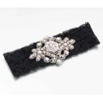 Lillian Rose Jeweled Garter - Black