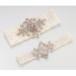 Lillian Rose Jeweled Garter Set - Ivory