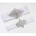 Lillian Rose Jeweled Garter Set - White