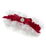Lillian Rose Red Satin Garter with Rhinestone