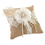 Lillian Rose Burlap & Lace Ring Pillow